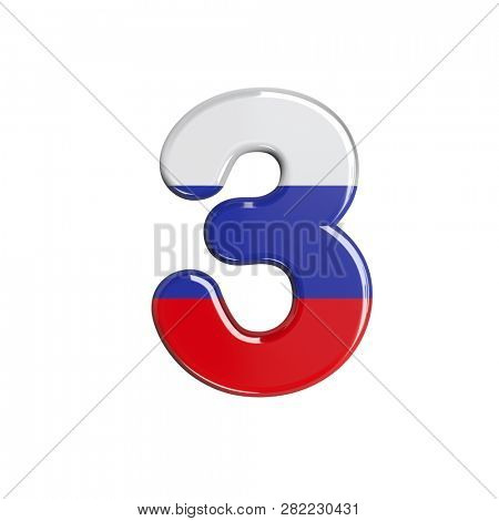 Russian number 3 isolated on white background. This font collection is well-suited for various projects related but not limited to Russia, politics, economics...