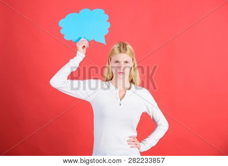 Hint And Allude Concept. Decision And Thoughts Copy Space. Girl With Speech Bubble. Thoughts Of Thou