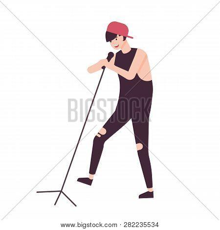 Happy Man Singer, Rock Vocalist Or Punk Rocker Wearing Cap And Singing In Microphone. Male Cartoon C