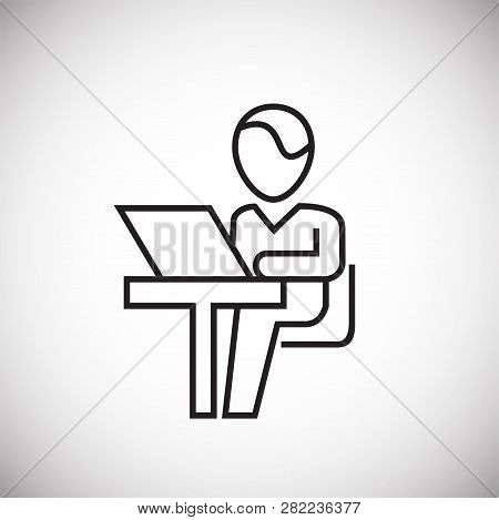 Business Personnel Working On Computer Thin Line On White Background Icon