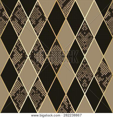 Snakeskin Luxury Geometric Seamless Pattern. Vector Background