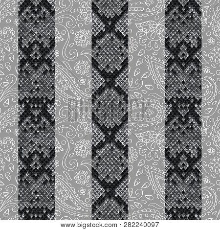 Snakeskin Reptile Stripe Seamless Pattern. Vector Floral Background