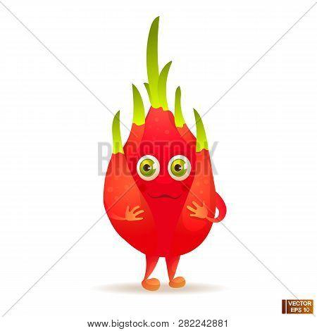 Vector Image. Cartoon Fruit Character Red Pitahaya. Pitaya, Healthy Vegetarian Food.