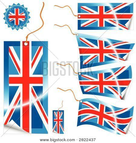United Kingdom Flag Modern Tags And Sticker