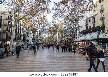 Barcelona, Spain - December 19, 2018: La Rambla In Barcelona, Spain. La Rambla Is A Street In Centra