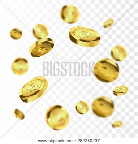 Coins Explosion Isolated On Checkered Background. Gold Coins Explosion Vector Illustration. Jackpot
