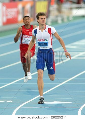 BARCELONA, SPAIN - JULY 27: Christophe Lemaitre of France competes on the Men 100m during the 20th European Athletics Championships at the Olympic Stadium on July 27, 2010 in Barcelona, Spain.