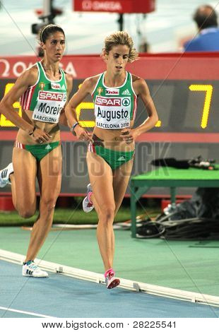 BARCELONA, SPAIN - JULY 28: Jessica Augusto of Portugal competes on the Women 10000m final during the 20th European Athletics Championships at the Olympic Stadium on July 28, 2010 in Barcelona, Spain