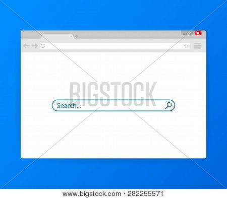 Simple Browser Window On Blue Background. Browser Search. Web Browser In Flat Style. Vector Stock Il