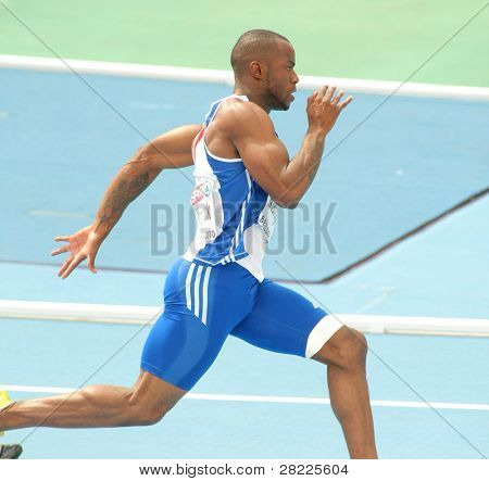 BARCELONA, SPAIN - JULY 29: Martial Mbandjock of France competes on the Men 200m during the 20th European Athletics Championships at the Stadium on July 29, 2010 in Barcelona, Spain