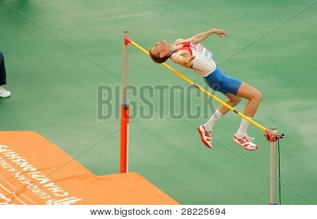 BARCELONA, SPAIN - JULY 29: Aleksander Shustov of Russia competes on the Men High Jump during the 20th European Athletics Championships at the Stadium on July 29, 2010 in Barcelona, Spain