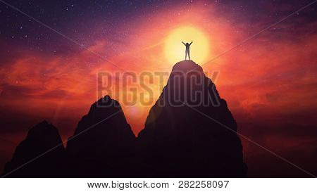 Self Overcome Concept As A Woman Climb Tall Mountains Obstacles Over The Clouds For Achieving Succes