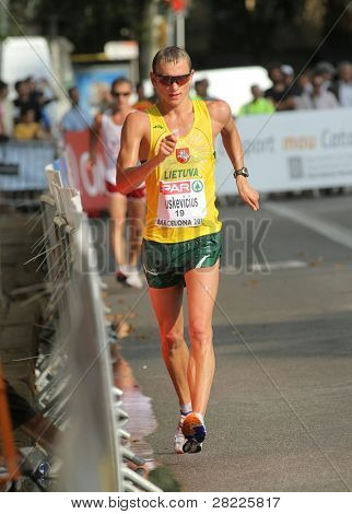 BARCELONA, SPAIN - JULY 30: Tadas Suskevicius of Lithuania competes on the Men 50km walk during the 20th European Athletics Championships at the Ciutadella Park on July 30, 2010 in Barcelona, Spain