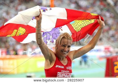 BARCELONA, SPAIN - JULY 30: Marta Dominguez of Spain celebrates silver on the 3000m steeplechase on the 20th European Athletics Championships at the Olympic Std. on July 30, 2010 in Barcelona, Spain