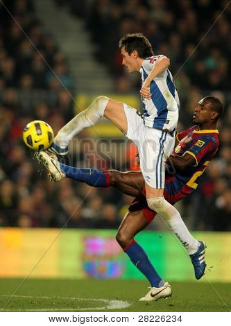 BARCELONA - DEC 12: Joseba Llorente of Real Sociedad in action during a Spanish League match between FC Barcelona and Real Sociedad at the Nou Camp Stadium on December 12, 2010 in Barcelona, Spain