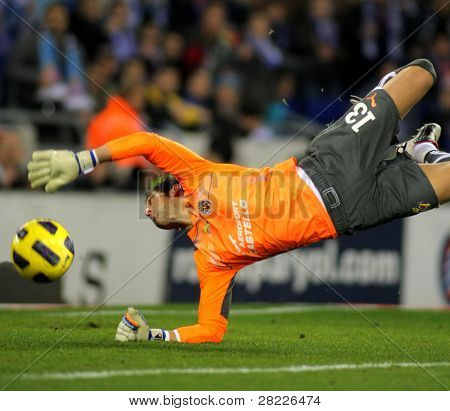 BARCELONA - JAN 30: Diego Lopez of Villareal during a Spanish League match between Espanyol and Villareal at the Estadi Cornella on January 30, 2011 in Barcelona, Spain