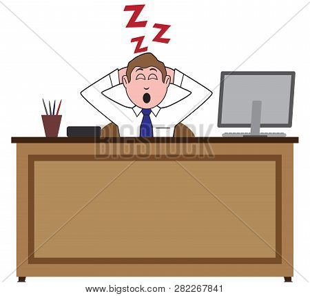 A Businessman Is Fast Asleep In His Office At His Desk