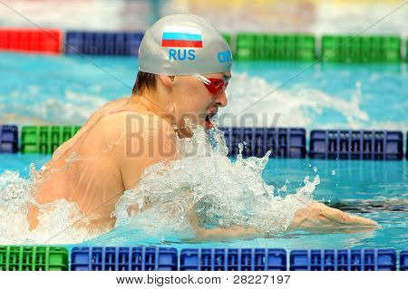 BARCELONA - JUNE 5: Russian European champion Grigory Falko swims the breaststroke during the Mare Nostrum meeting in Barcelona's Sant Andreu club on June 5, 2011 in Barcelona, Spain
