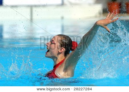 BARCELONA - JUNE 19: Slovakian synchro swimmer Kristina Krajcovicova in a Solo Free Rutine during the Espana Sincro meeting in Barcelona Picornell Swimpool, June 19, 2011 in Barcelona, Spain