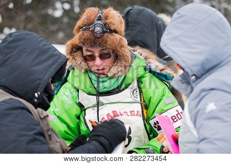 Grand Portage, Mn - January 29, 2019: Ryan Redington Meets With Race Officials Prior To Leaving Mine