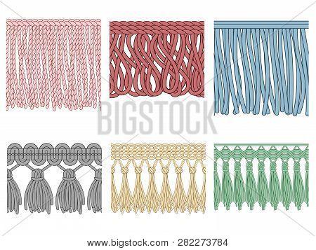 Garment Fringe. Ruffle Seam Trim, Raw Textile Edge And Tassel Braid Ruffles Isolated Seamless Patter
