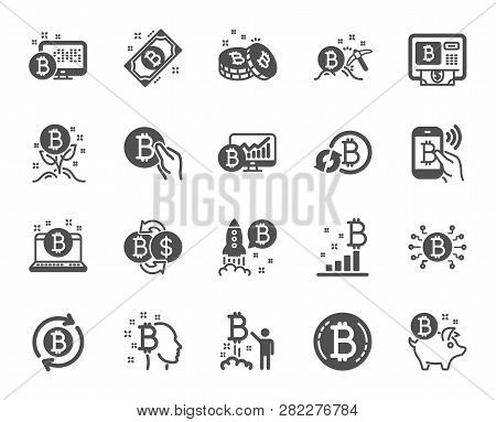 Cryptocurrency Icons. Set Of Blockchain, Crypto Ico Start Up And Bitcoin Icons. Mining, Cryptocurren