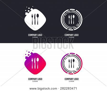 Logotype Concept. Fork, Knife, Tablespoon Sign Icon. Cutlery Collection Set Symbol. Logo Design. Col