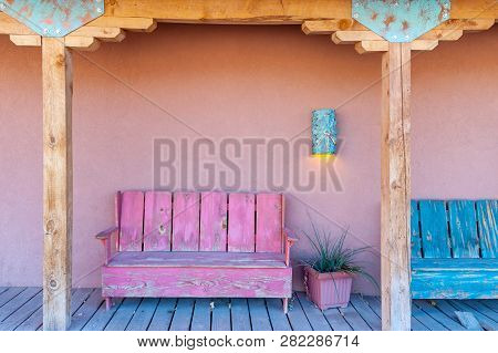 Vibrant Multi-colored Porch Of The Typical House In Southwest, Usa