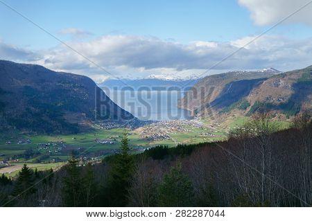 Village Of Vik And The Sognefjord, Sogn Og Fjordane. Vikoyri Norway, Beautiful Landscape.