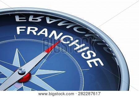 3d Rendering Of An Compass With The Word Franchise