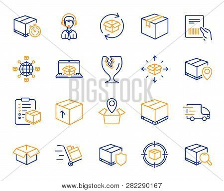 Logistics, Shipping Document Line Icons. Set Of Truck Delivery, Box And Checklist Icons. Parcel Trac