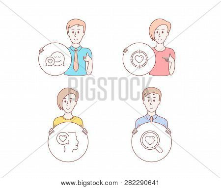 People Hand Drawn Style. Set Of Romantic Talk, Valentine Target And Dating Icons. Search Love Sign.