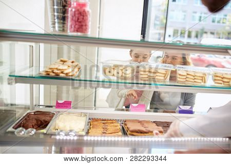 Large variety of sweets in renowned bakery store