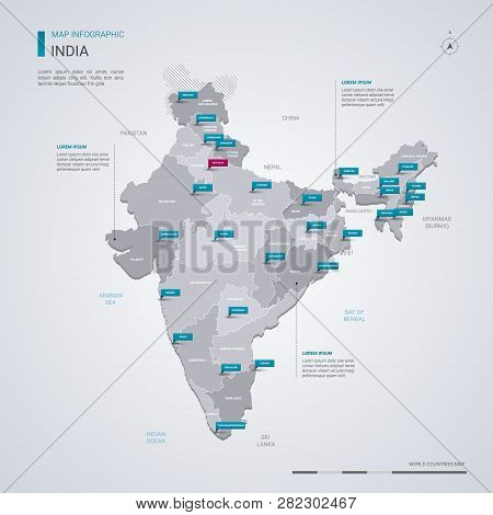 India Vector Map With Infographic Elements, Pointer Marks. Editable Template With Regions, Cities An