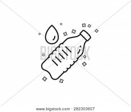 Water Bottle Line Icon. Clean Aqua Drink Sign. Liquid Symbol. Geometric Shapes. Random Cross Element