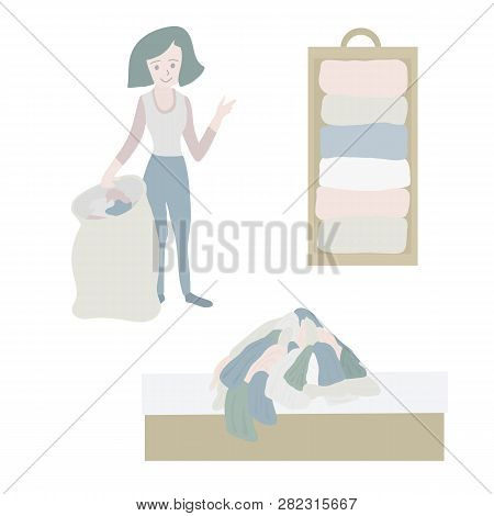 Tidying Up Vector Icon Set. Closet Organization Illustration. House Keeping. Tidy Up. Declutter And