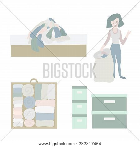 Declutter And Tidy Up Concept Vector Icon Set. Closet Organization Illustration. Woman With Bag Decl