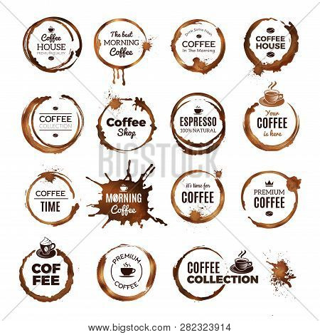 Coffee Rings Badges. Labels With Dirty Circles From Tea Or Coffee Cup Restaurant Logo Template. Coff