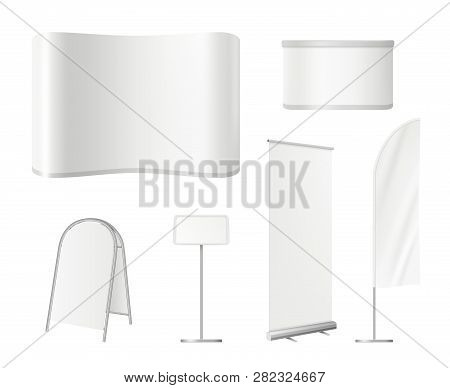 Promotional Blank Stands. Advertising Exhibition Empty Space With Wall Roll Up Banners Desk Vector M