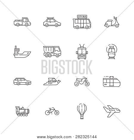 Public Transport Icons. Cars Planes Trains Boats Urban Vehicles Thin Line Collection Symbols. Illust