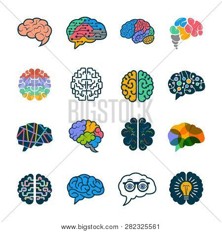 Human Brain Collection. Creative Silhouettes Of Smart Minds Genius Remember Vector Logotypes Element
