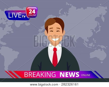 Television News. Breaking Reporter Tv And Broadcast Headline News Anchor Vector Graphic Template. Il