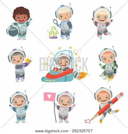 Childrens In Space. Kids Astronauts Funny Vector Characters In Rocket Cosmonaut. Rocket And Astronau