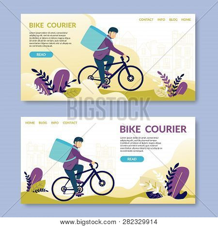 Bike Courier.read. Happy Young Man Electric Bike. Bicycle Messengers Found Central Business District
