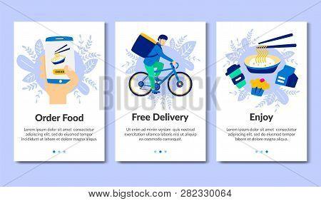 Flat Banner Order Food. Free Delivery. Enjoy. Vector Illustration. Chinese Food Order. Free Delivery