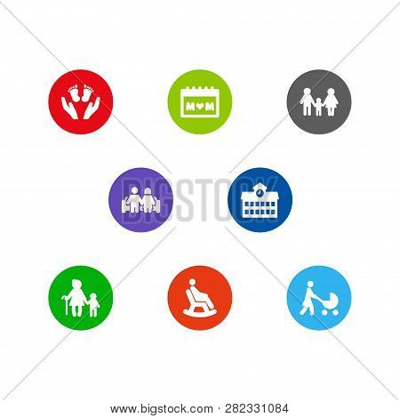 Set Of 8 People Icons Set. Collection Of Lineage, Stroller, Calendar And Other Elements.