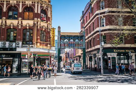 3rd January 2019, Melbourne Australia: People Walking And Chinatown Entrance Arches On Little Bourke