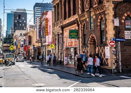 3rd January 2019, Melbourne Australia: People Walking In Chinatown Little Bourke Street With Shops I