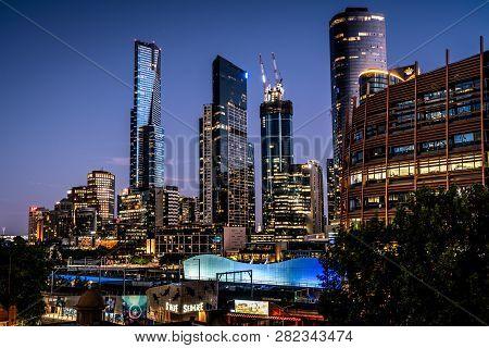 3rd January 2019, Melbourne Australia: Melbourne Skyline At Dusk With Riverside Quay Buildings Inclu