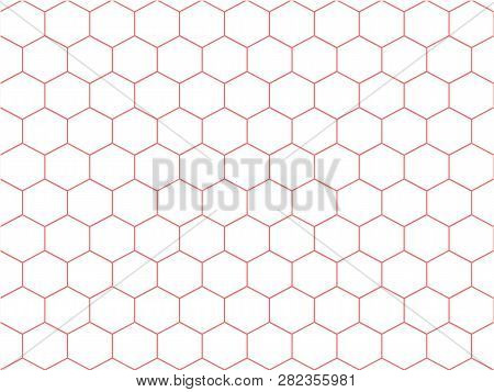 Pastel Sweet Pink Line Hexagon On White Background. Honeycomb Texture Pattern In Abstract Background